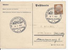 DT- Reich (000651) Postkarte Mit Sonderstempel,Bad Blankenburg (Thüringerw) Briefmarken Ausstellung, Gelaufen Am 18.7.37 - Alemania