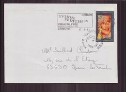 """Enveloppe Du 17 Septembre 1994 D Appoigny à Quarré-les-Tombes Cachet """" Yvonne Printemps """" - France"""