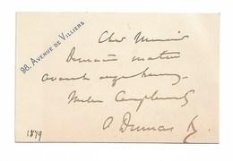 A. DUMAS. Cdv 4 Lignes + Signature. 98 Av De Villiers.  1879 - Autogramme & Autographen