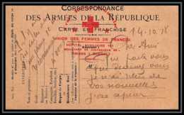 7210/ Carte En Franchise Guerre 1914/1918 Croix Rouge Union Des Femmes De France Hopital Auxiliaire 101 Amiens 1918 - Poststempel (Briefe)