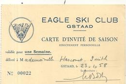 EAGLE SKI CLUB . GSTAAD - Tickets D'entrée