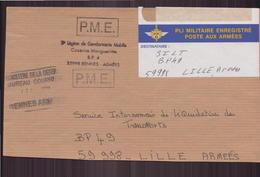 """Enveloppe Du 17 Février 2000 Pour Lille Cachet """" Légion De Gendarmerie à Rennes """" - France"""