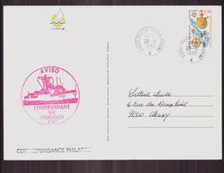 """Carte Du 29 Septembre 1992 Pour Massy Cachet """" Toulon Secteur Marine , Aviso Commandant De Pimodan """" - France"""