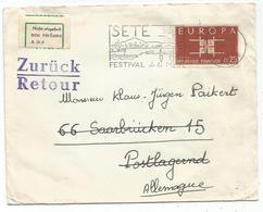 EUROPA 25C SEUL LETTRE SETE 1963 POUR SARRE + RETOUR SAARBRUCKEN ZURUCK - 1961-....