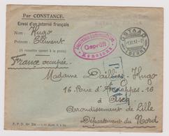 Enveloppe Internement Prisonniers De Guerre GSTAAD Suisse + Cachet Censure Constance 1917 WW1 - Postmark Collection