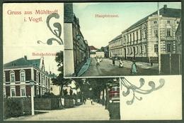 """Mühltroff I. Vogtland 1922 3-geteilte Handcolorierte AK """" Bahnhofstr Hauptstr """" 2x Frankiert Früher Infla-Bedarf - Allemagne"""