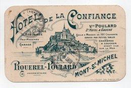 - Carte De Visite HOTEL DE LA CONFIANCE - PIQUEREL-POULARD - MONT-ST-MICHEL - - Cartes De Visite