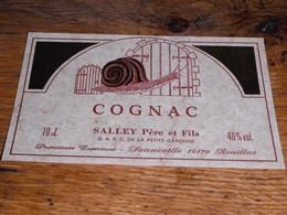 étiquette Cognac Salley Père Et Fils Escargot Sonneville Rouillac - Other Collections