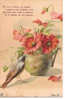 Birds, Oiseaux, Vögel, Vase With Flowers, Poppy, Coquelicot, Mohn, Papavero, Fleurs, Blumen - Oiseaux