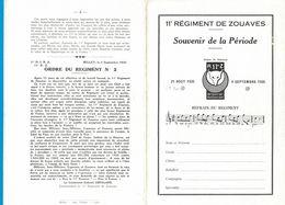 11e REGIMENT DE ZOUAVES SOUVENIR DE LA PERIODES INSIGNE DU REGIMENT R 11e Z OEIL POUR OEIL DENT POUR DENT 1935 REFRAIN - 1914-18