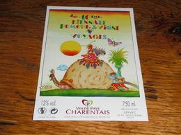 étiquette Vin De Pays Charentais Escargot 10ème Biennale Humour Et Vigne Voyage Cognac Jenzac - Other Collections