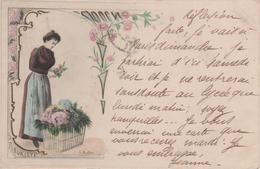 Belle Cpa Femme Mode Fleurs LA FLEURISTE-A.MULLER Circulee Versailles Pour Rouillac (charente)2scans - Illustrateurs & Photographes