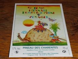 étiquette Pineau Des Charentes Escargot 10ème Biennale Humour Et Vigne Voyage Cognac Jenzac - Other Collections