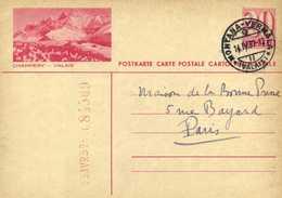 Entier Postal 20 HELVETIA  CHAMPERY  VALAIS  + Beau Cachet MONTANA VERMALA  VALAIS  R V - VS Valais