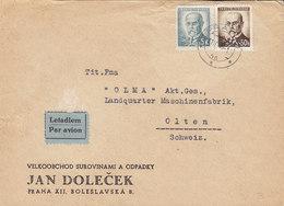 Czechoslovakia Letadlem Par Avion Label JAN DOLECEK, PRAHA 1945 Cover Brief OLTEN Schweiz 2x Mazaryk - Briefe U. Dokumente