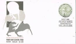 35136. Carta F.D.C. WANGANUI (nez Zealand) 1988. Stamp One Dollar Rond KIWI, Bird, Ave - Kiwi