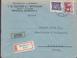 Czechoslovakia F.G. KUCHÁR & I. WITTMANN Registered Einschreiben Label BRATISLAVA 1945 Cover Brief BIENNE Suisse - Briefe U. Dokumente