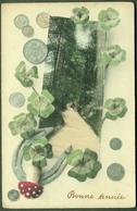 "Münzen ~ 1909 Argent Liquide Francaise "" Neujahr Bonne Annee Mit Münzen Pilz Hufeisen "" - Monnaies (représentations)"