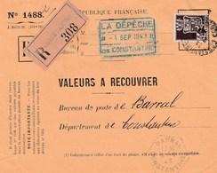 Valeur à Recouvrer : Constantine Pour  Barral (cachet Hexagonal) Devant De Lettre - Storia Postale