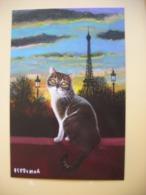 CPM Coucher De Soleil Sur La Tour Eiffel Avec Chat, Isy Ochoa, Cat - Illustrateurs & Photographes