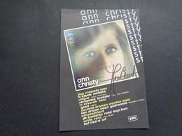 Artiste ( 600 )  Artiest Zangeres  Zanger ( Geen Postkaart ) Dédicasse Signature Handtekening : Ann Christy - Chanteurs & Musiciens