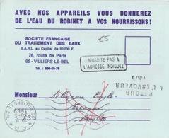 Carte-Lettre Pré-imprimée (Société De Traitement Des Eaux) Obl. PP Villiers Le Bel Le 20-5 1969 + Retour à L'Envoyeur - Marcofilia (sobres)