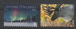 Finlande N° 2520 à 2521 De 2018 - Aurore Boréale Renne - Finlande