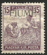 398 Fiume 1918 15f Violet Overprint MH * Neuf Avec CH (FIU-11) - 8. WW I Occupation