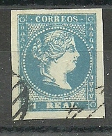 ESPAÑA REINADO ISABEL II  1856-59 EDIFIL 49 1 REAL AZUL  FALSO - Oblitérés