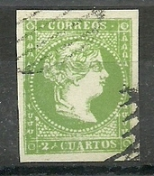 ESPAÑA REINADO ISABEL II  1856-59 EDIFIL 47 2 CU VERDE FALSO - Oblitérés