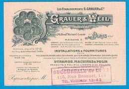ETS GRAUER & WEIL DYNAMOS MACHINE A POLIR . SUCCURSALE DE LYON 115 RUE BOSSUET - Visitekaartjes
