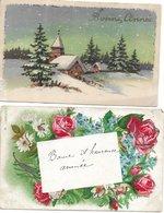 L60b308 - Bonne Année - Lot De Deux Cartes - Fleurs  Et Paysage Enneigé - New Year