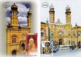 ISRAEL, 2000, Maxi-Card(s), Israel-Hungary - Synagoge, SG1499, F5599 (2 Cards) - Maximumkaarten