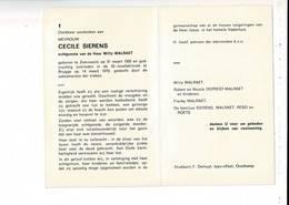 DP 9673 - CECILE SIERENS - WILRAET - ZWEVEZELE 1926 + BRUGGE 1979 - Images Religieuses