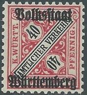 1919 GERMANIA WURTTEMBERG SERVIZIO SOPRASTAMPATO 40 P MNH ** - RB13-2 - Wurttemberg