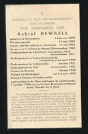 PASTOOR DENTERGEM  ACHIEL DE WAELE - RENINGHELST 1879 - LICHTERVELDE 1956 - Esquela