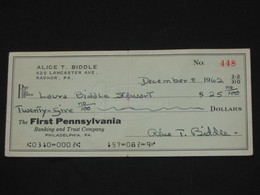 Ancien Chèque USA De 1962 - The First Pennsylvania - 15.8 X 7 Cm      ***** EN ACHAT IMMEDIAT **** - Chèques & Chèques De Voyage
