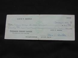 Ancien Chèque USA De 1973 - GIRARD TRUST BANK - Dim = 7.80 X 20.9 Cm      ***** EN ACHAT IMMEDIAT **** - Chèques & Chèques De Voyage
