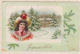 9AL2862 CARTE POSTALE JOYEUX NOEL Petite Fille Au Chapeau 2 SCANS - Christmas
