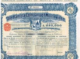 Titre Ancien - The Rambla Company Of Monte Video Limited - Titre De 1911- - Toerisme
