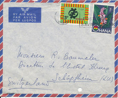 Ghana Air Mail Cover Sent To Switzerland 5-6-1962 Topic Stamps (archive Hole On The Cover) - Ghana (1957-...)