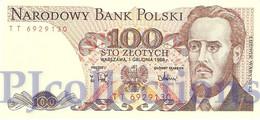POLAND 100 ZLOTYCH 1988 PICK 143e UNC - Pologne