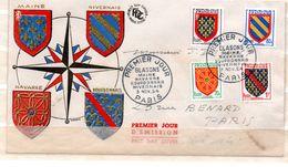 FRANCE  ENVELOPPE PREMIER JOUR BLASON MAINE NAVARRE BOURBONNAIS NIVERNAIS 3/11/1954 - 1950-1959