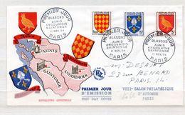 FRANCE  ENVELOPPE PREMIER JOUR BLASONS AUNIS ANGOUMOIS SAINTONGE 11/11/1954 - 1950-1959