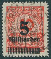 Dt. Reich 334B O, 1923, 5 Mrd. Auf 10 Mio. M. Zinnober, Durchstochen, Pracht, Gepr. Infla, Mi. 240.- - Allemagne
