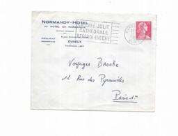1955 Evreux La Cité Jolie Cathedrale Beffroi Eveche  - Normandy Hotel De Normandie - Marcophilie (Lettres)
