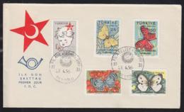 TURKEY (1958) Butterflies. Unaddressed FDC With Cachet. Scott Nos RA224-8. - Farfalle