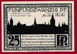 Allemagne 25 Pfenning Stadt Paderborn  Dans L 'état N °5484 - [ 3] 1918-1933 : República De Weimar