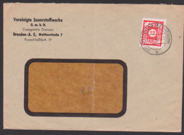 OPD Ostsachsen Cossebaude , 12 Pf. SBZ 46, 12.9.45 - Portogenau Reichspostporto, Sauerstoffwerke - Zone Soviétique