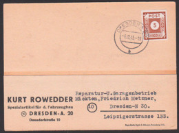 OPD Ostsachsen 5 Pf. SBZ 42, Ortskarte Dresden A20 4.12.45, Spezialartikel Fahrzeugbau, Portogenau Reichspostporto - Zone Soviétique